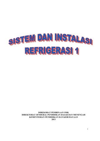 Sistem dan Instalasi Refrigerasi 1