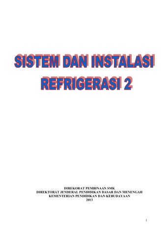 Sistem dan Instalasi Refrigerasi 2