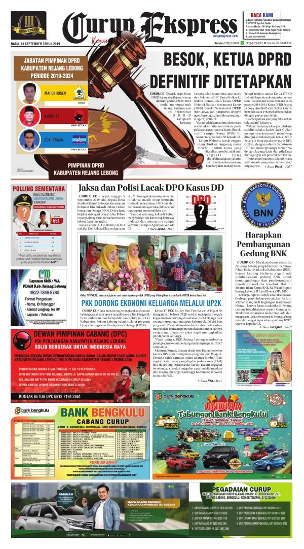 Koran Curup Ekspress - Edisi 18 September 2019