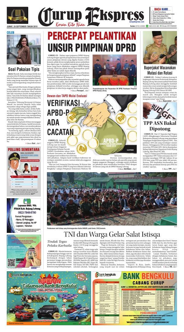 Koran Curup Ekspress - Edisi 20 September 2019