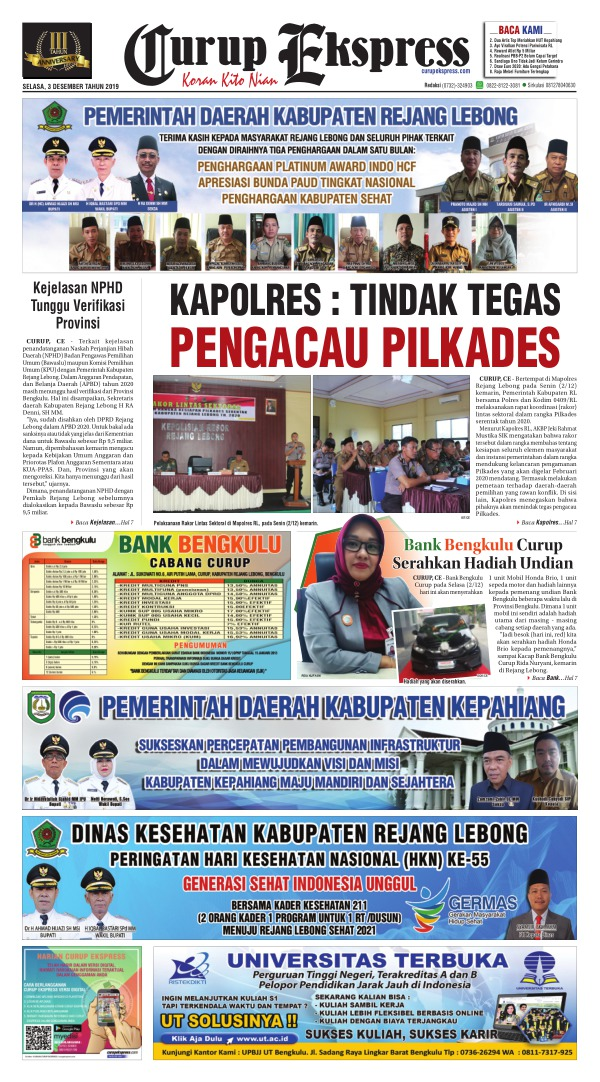 Koran Curup Ekspress - Edisi 3 Desember 2019