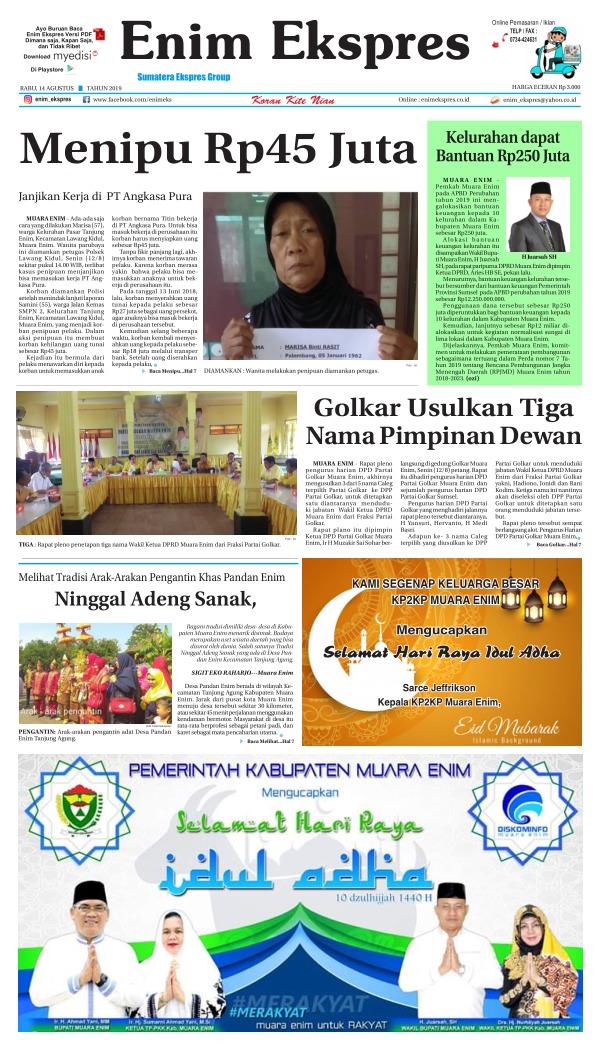 Koran Enim Ekspres - Edisi 14 Agustus 2019