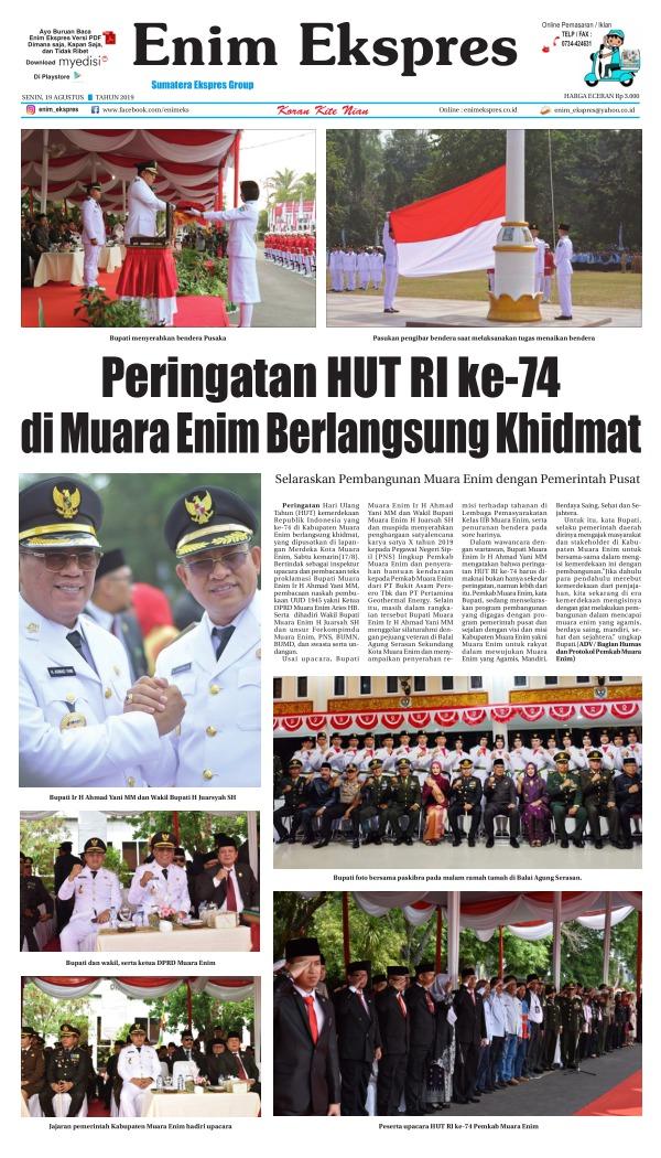 Koran Enim Ekspres - Edisi 19 Agustus 2019