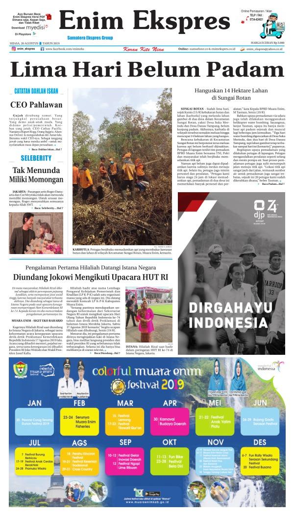 Koran Enim Ekspres - Edisi 20 Agustus 2019