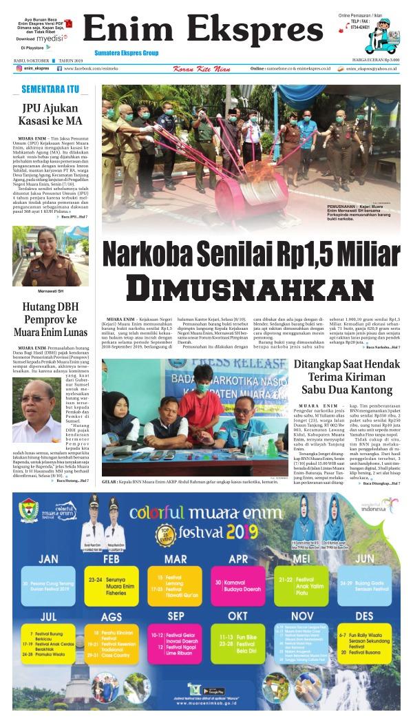 Koran Enim Ekspres - Edisi 9 Oktober 2019