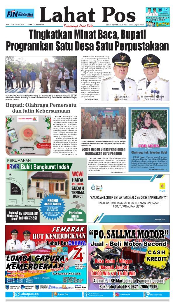 Koran Lahat Pos - Edisi 14 Agustus 2019