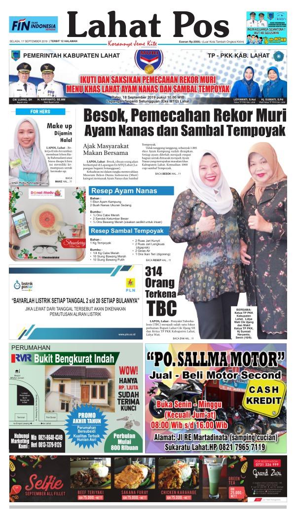 Koran Lahat Pos - Edisi 17 September 2019