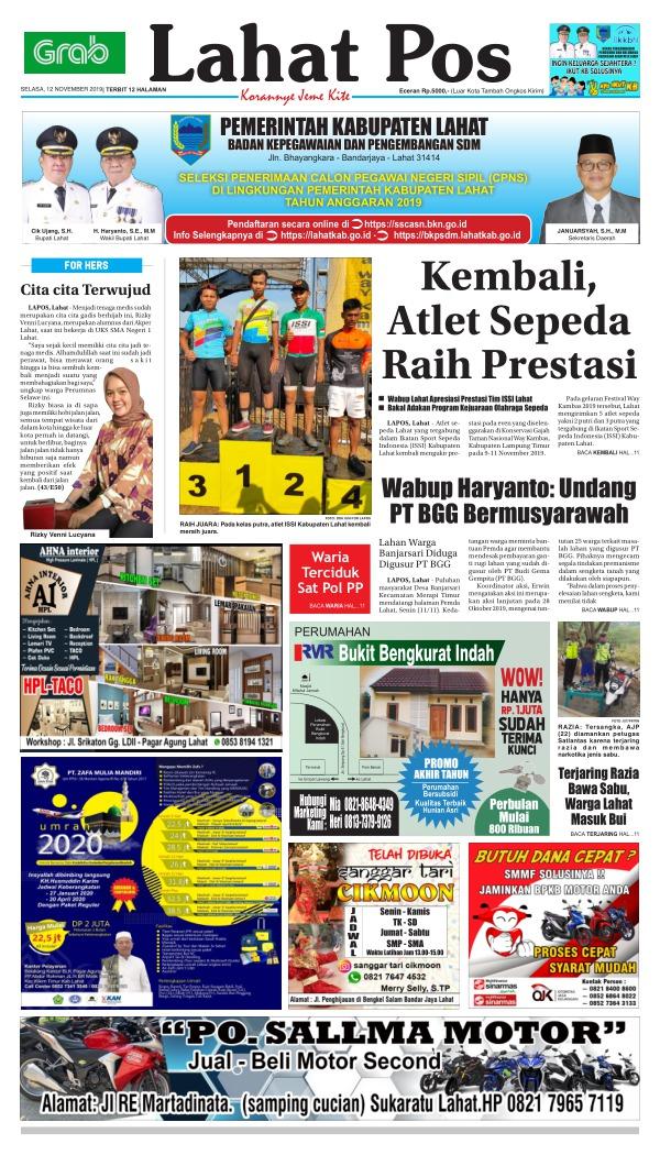 Koran Lahat Pos - Edisi 12 November 2019