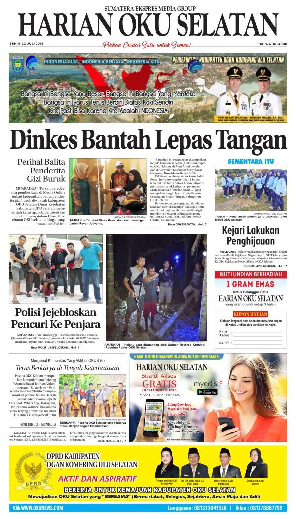 Koran Harian Oku Selatan - Edisi 22 Juli 2019