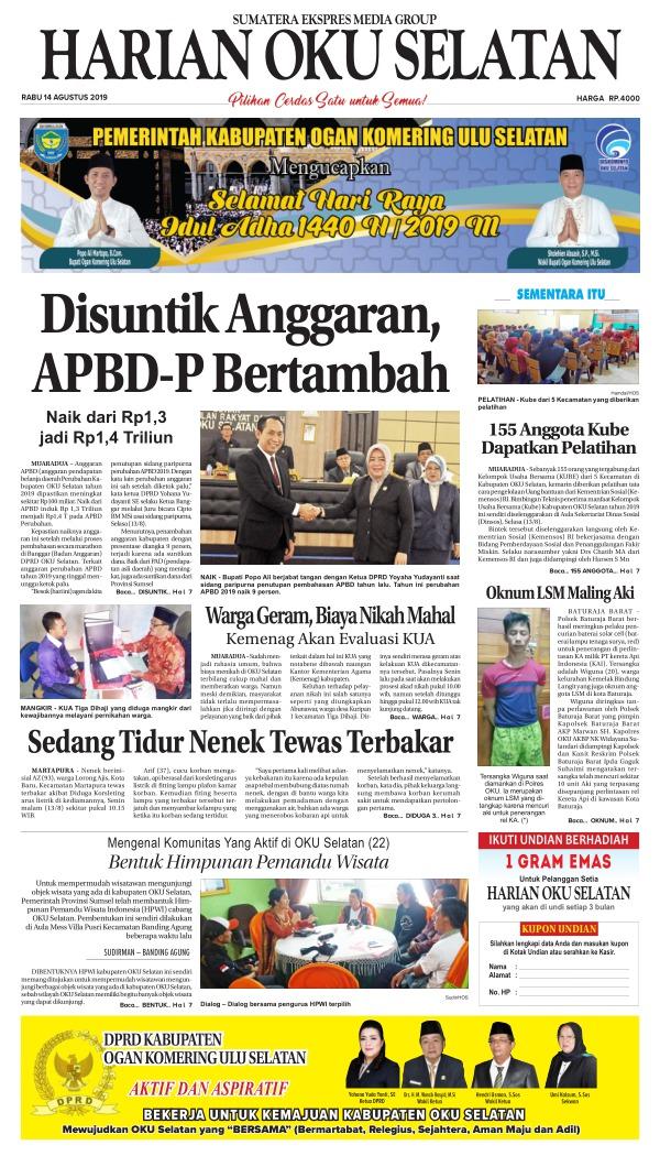 Koran Harian Oku Selatan - Edisi 14 Agustus 2019