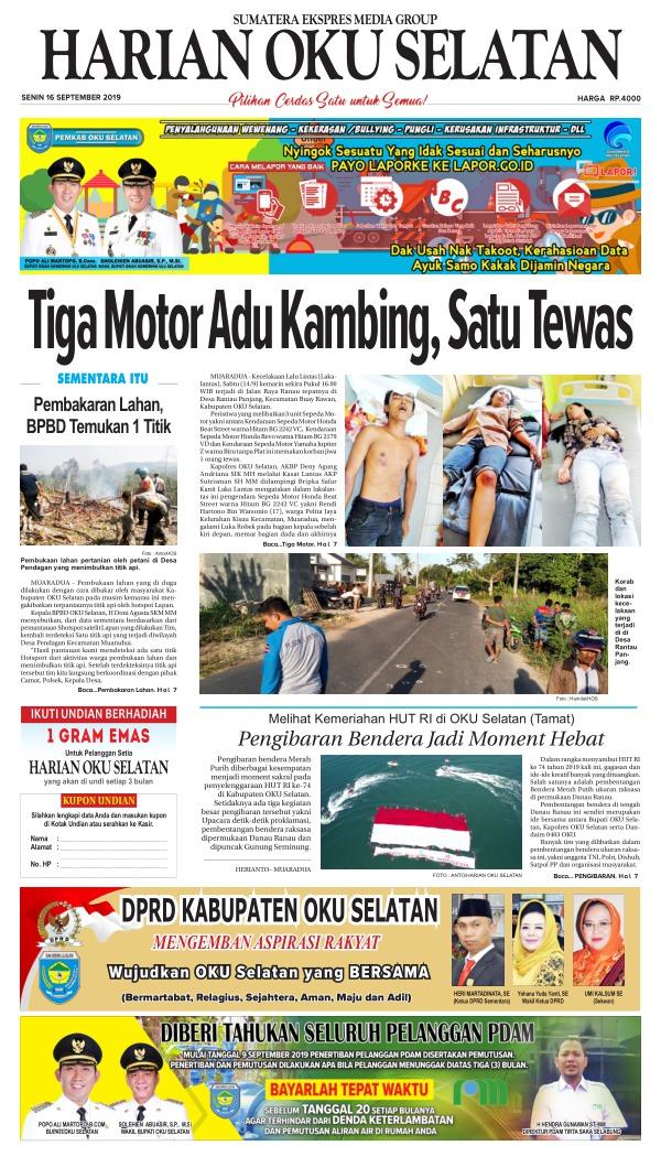 Koran Harian Oku Selatan - Edisi 16 September 2019
