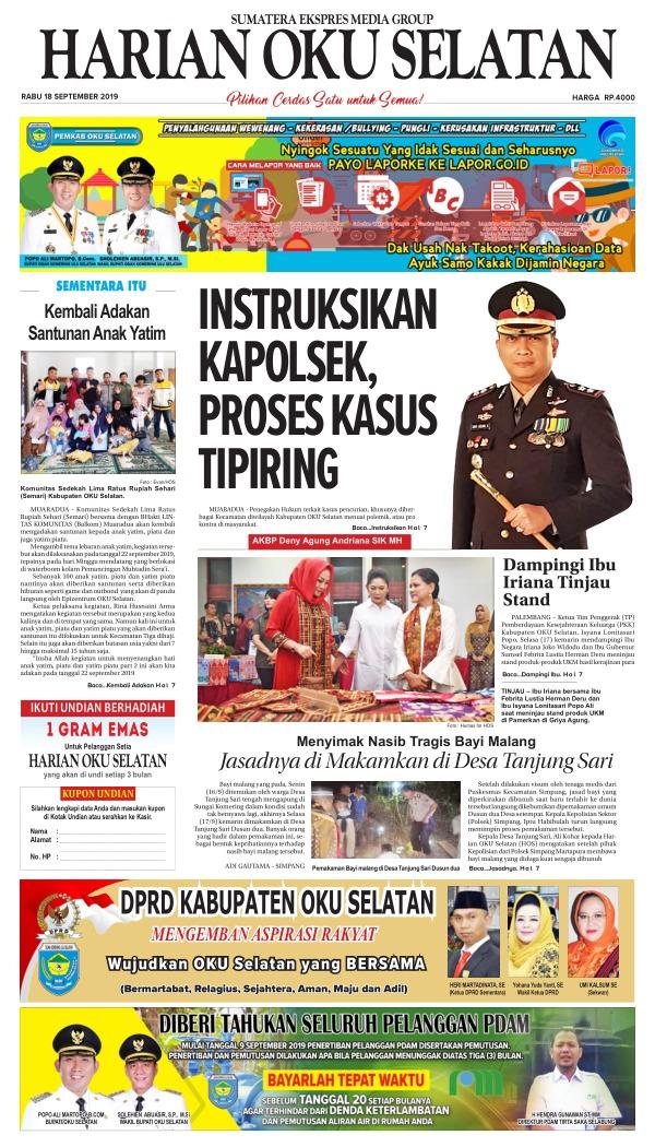 Koran Harian Oku Selatan - Edisi 18 September 2019