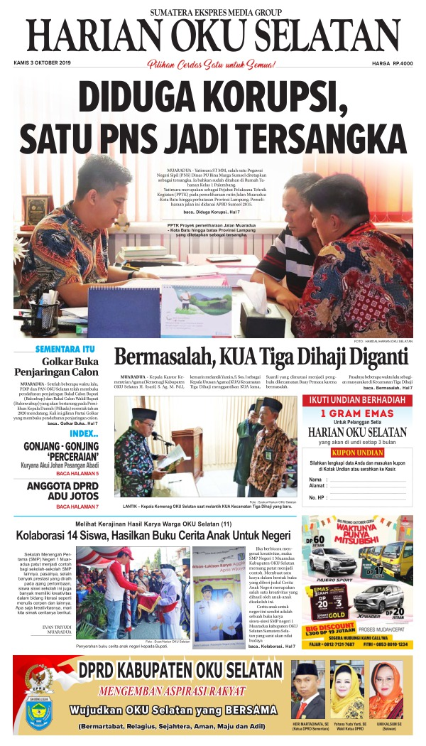 Koran Harian Oku Selatan - Edisi 3 Oktober 2019