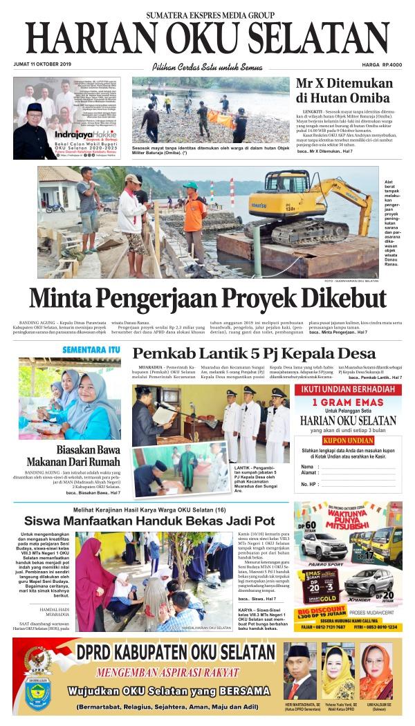 Koran Harian Oku Selatan - Edisi 11 Oktober 2019