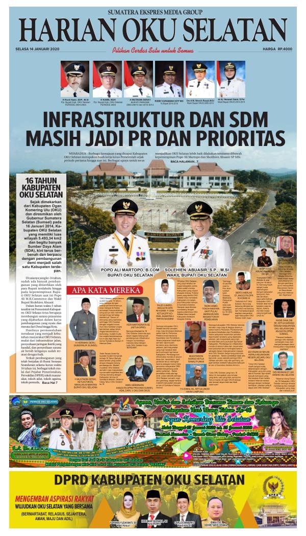 16 Tahun Kabupaten Oku Selatan Edisi 14 Januari 2020 Harian Oku Selatan