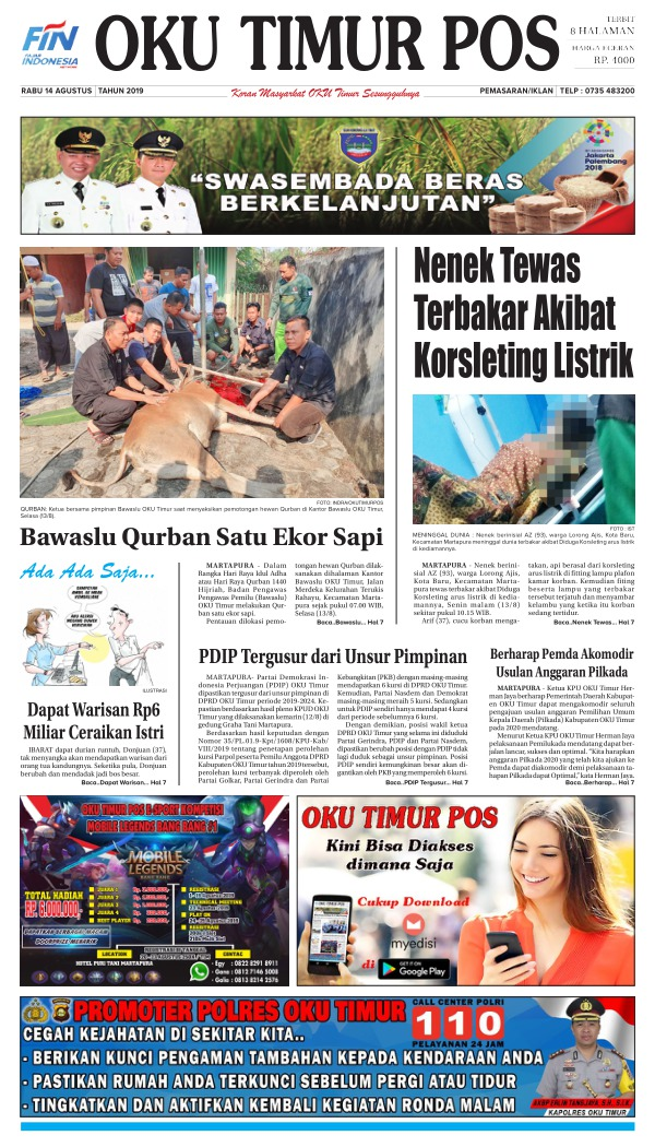 Koran Oku Timur Pos - Edisi 14 Agustus 2019
