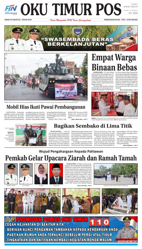 Koran Oku Timur Pos - Edisi 19 Agustus 2019