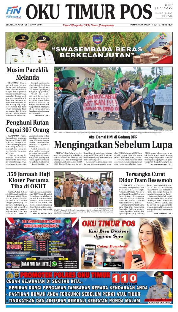 Koran Oku Timur Pos - Edisi 20 Agustus 2019