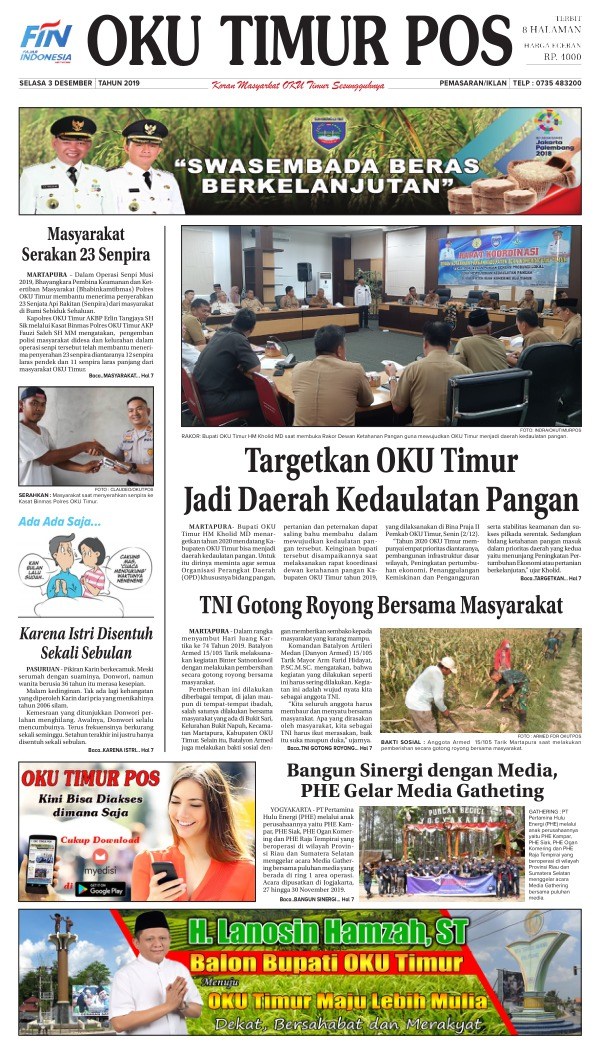 Koran Oku Timur Pos - Edisi 3 Desember 2019