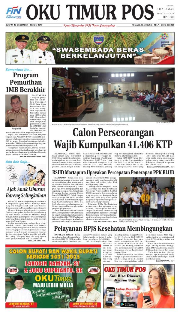Koran Oku Timur Pos - Edisi 13 Desember 2019