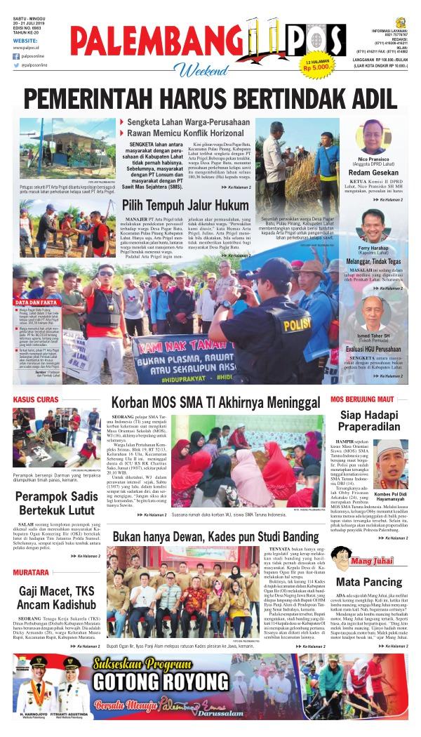 Koran Palembang Pos - Edisi 20 Juli 2019