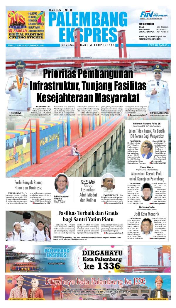 Koran Palembang Ekspres - Edisi 17 Juni 2019