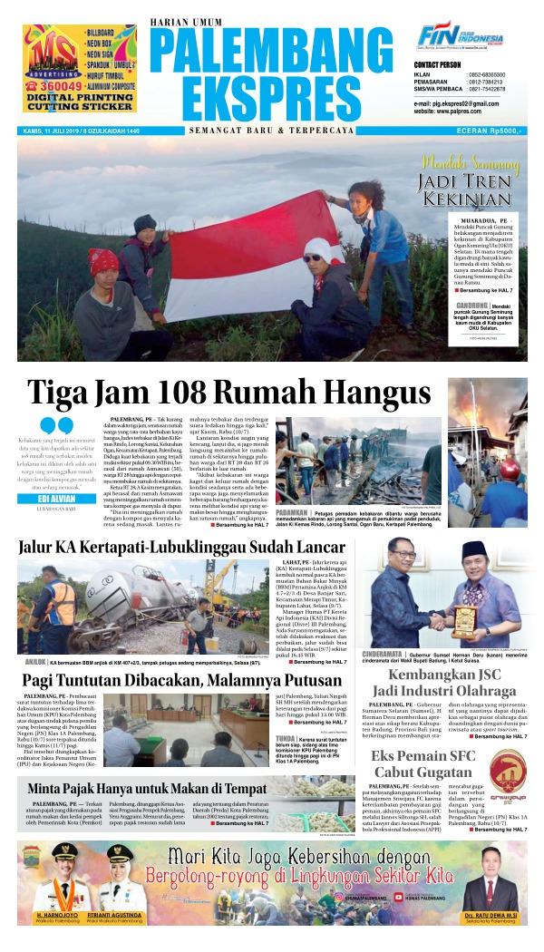 Koran Palembang Ekspres - Edisi 11 Juli 2019