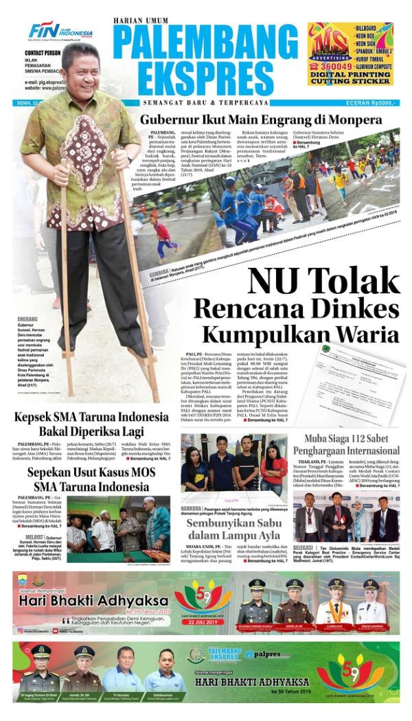 Koran Palembang Ekspres - Edisi 22 Juli 2019