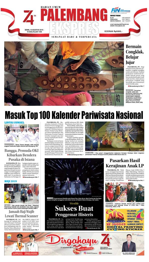 Koran Palembang Ekspres - Edisi 19 Agustus 2019