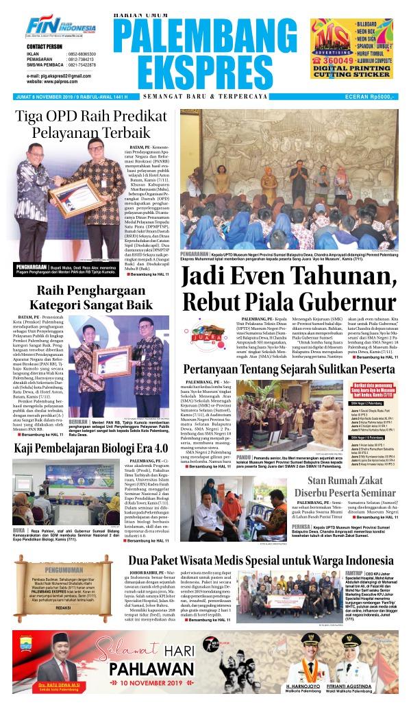 Koran Palembang Ekspres - Edisi 8 November 2019