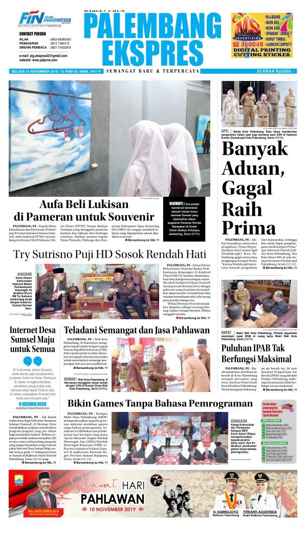 Koran Palembang Ekspres - Edisi 12 November 2019