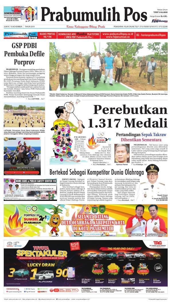 Koran Prabumulih Pos - Edisi 15 November 2019