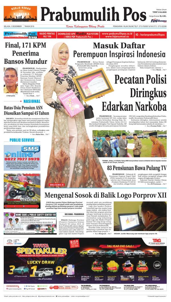 Koran Prabumulih Pos - Edisi 3 Desember 2019