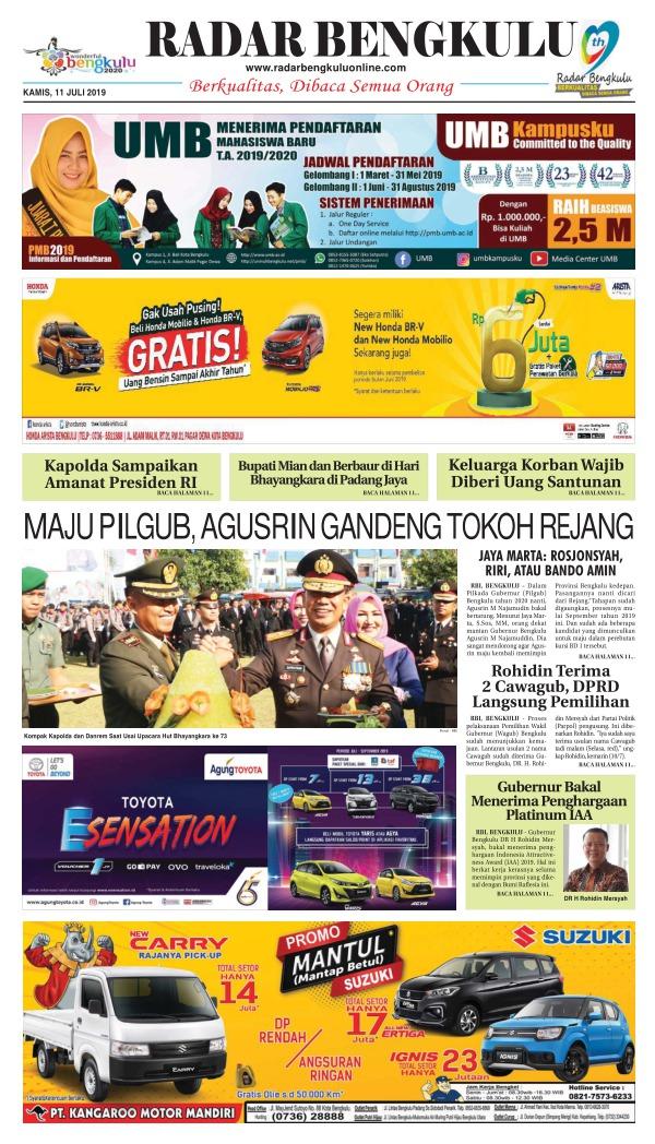 Koran Radar Bengkulu - Edisi 11 Juli 2019