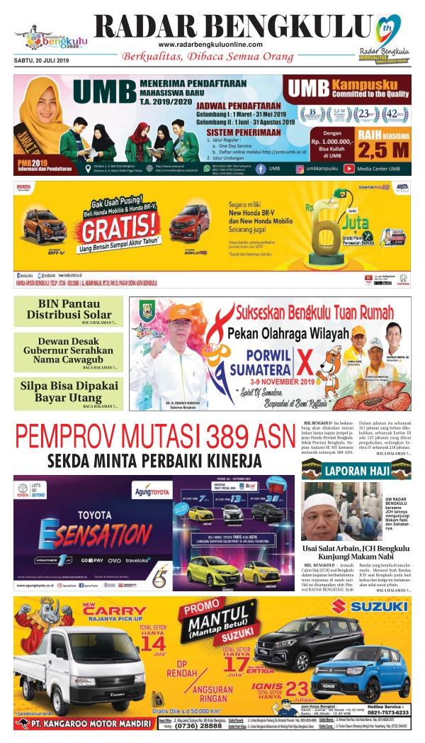 Koran Radar Bengkulu - Edisi 20 Juli 2019