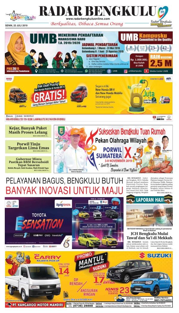 Koran Radar Bengkulu - Edisi 22 Juli 2019