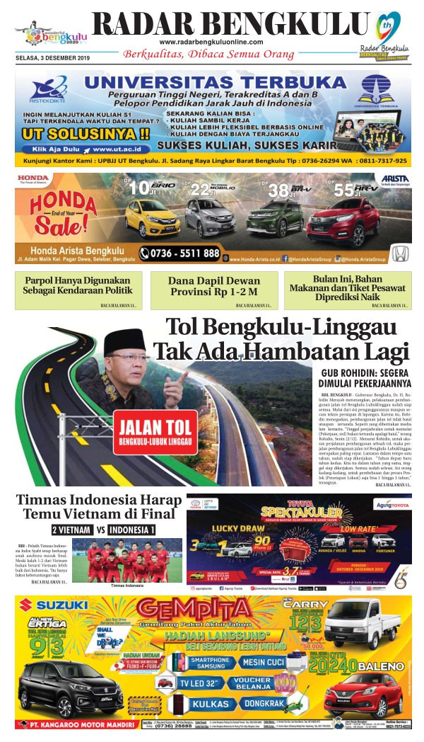 Koran Radar Bengkulu - Edisi 3 Desember 2019