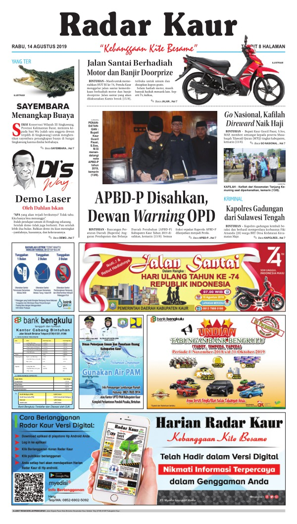 Koran Radar Kaur - Edisi 14 Agustus 2019