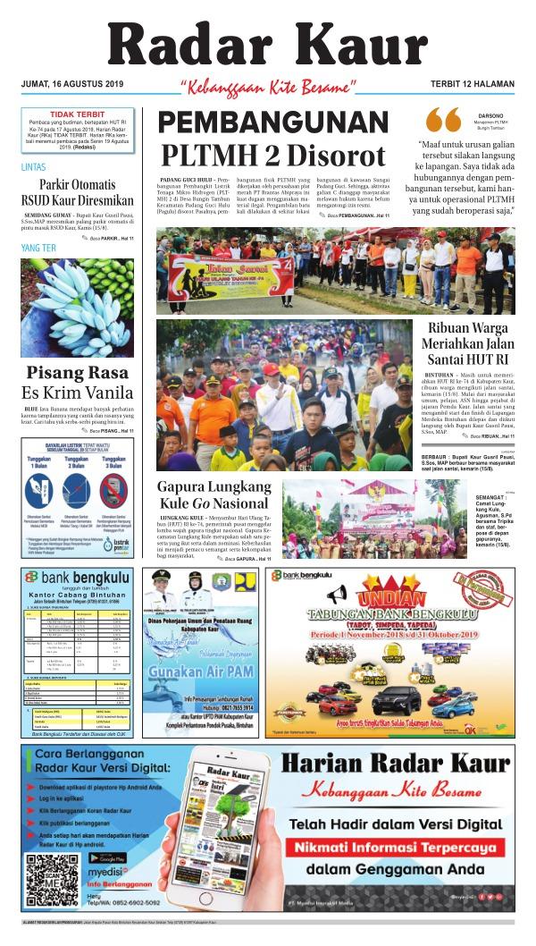 Koran Radar Kaur - Edisi 16 Agustus 2019