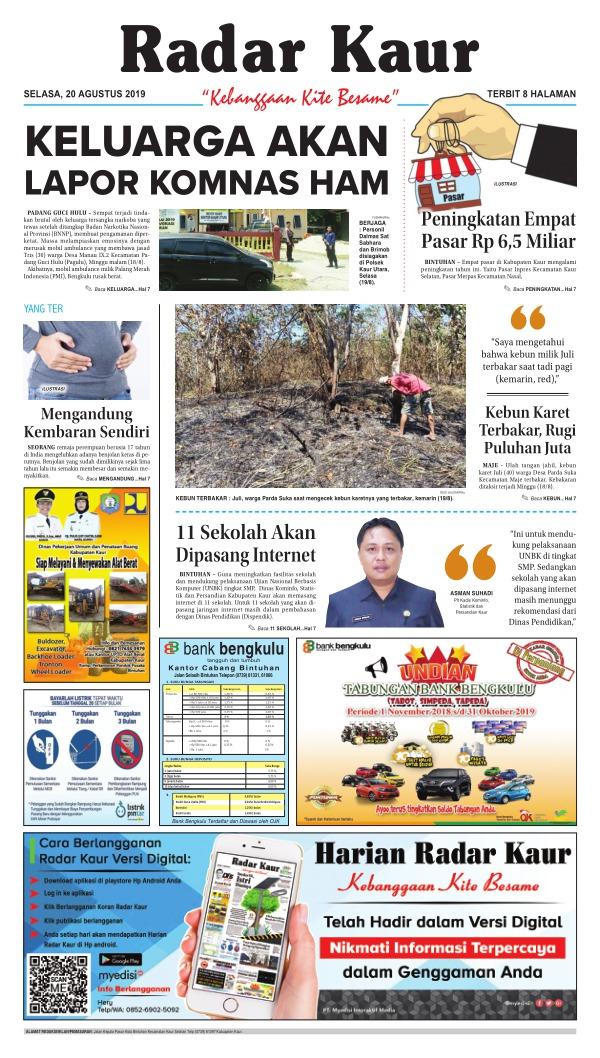 Koran Radar Kaur - Edisi 20 Agustus 2019
