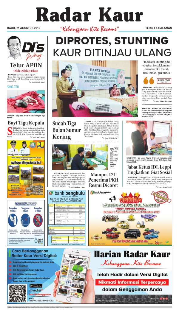 Koran Radar Kaur - Edisi 21 Agustus 2019