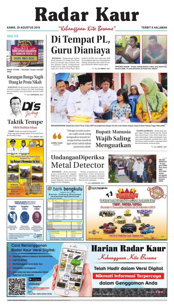 Koran Radar Kaur - Edisi 29 Agustus 2019