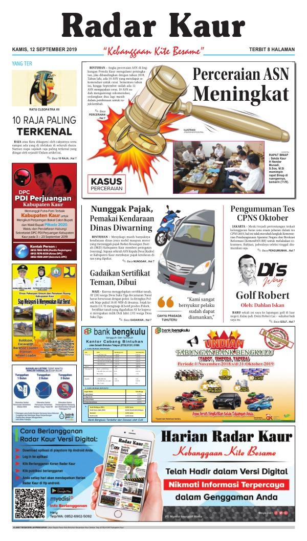 Koran Radar Kaur - Edisi 12 September 2019