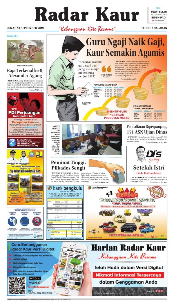 Koran Radar Kaur - Edisi 13 September 2019
