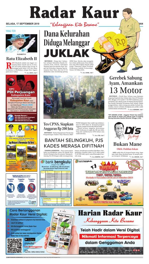 Koran Radar Kaur - Edisi 17 September 2019