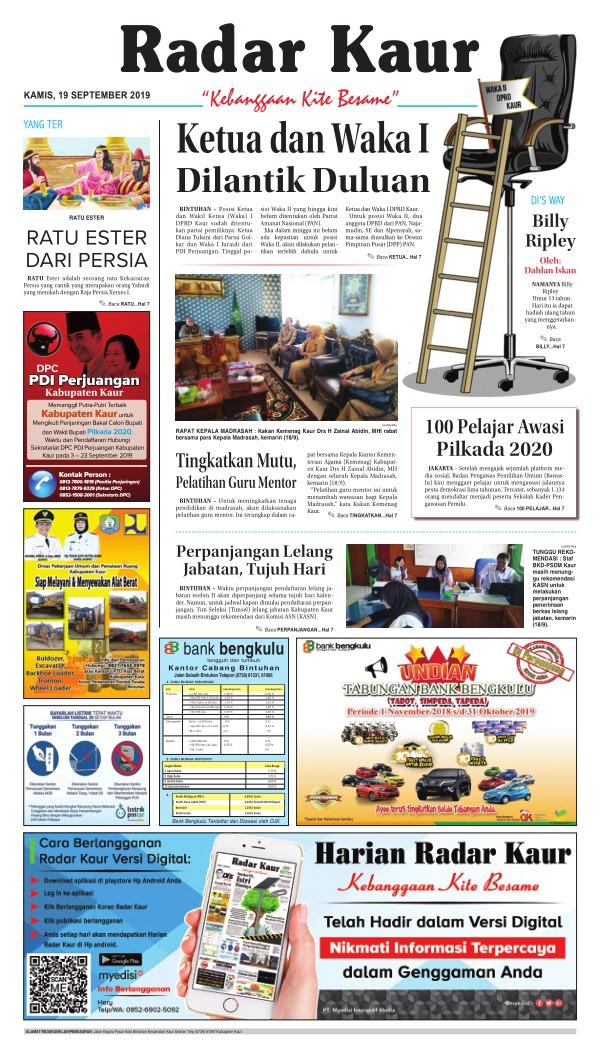 Koran Radar Kaur - Edisi 19 September 2019