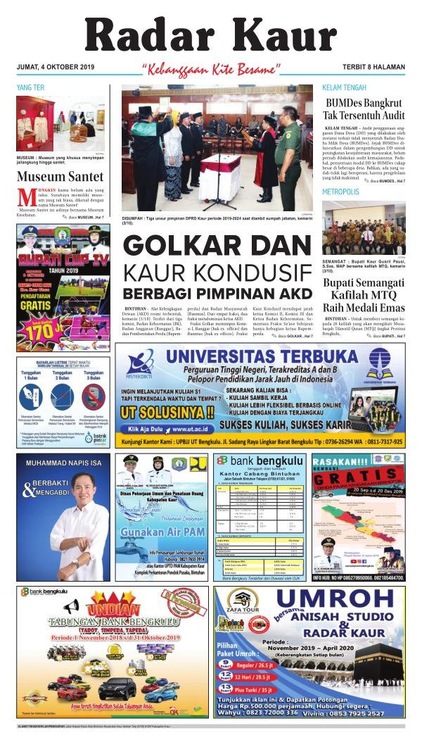 Koran Radar Kaur - Edisi 4 Oktober 2019