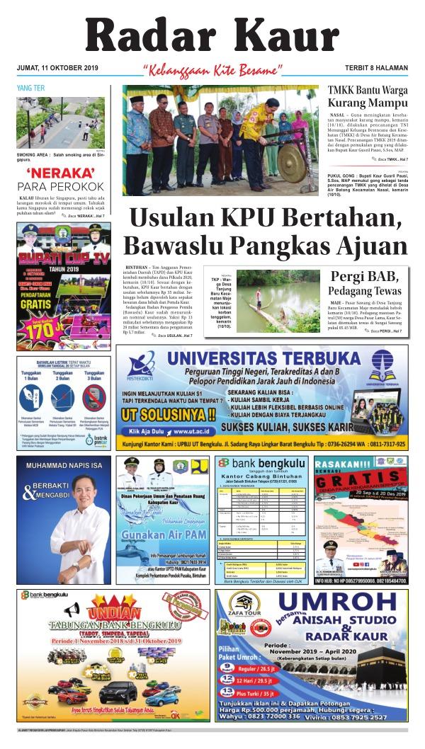 Koran Radar Kaur - Edisi 11 Oktober 2019