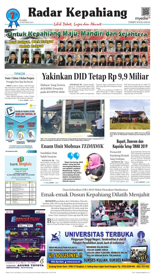 Koran Radar Kepahiang - Edisi 24 Oktober 2019