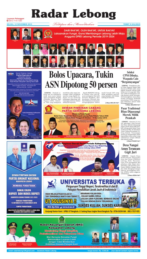Koran Radar Lebong - Edisi 12 November 2019
